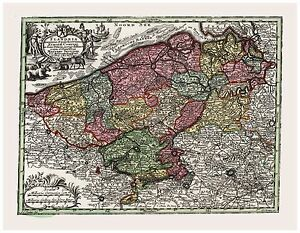 Old Vintage Map of Flanders Belgium Seutter 1744