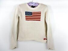 RALPH LAUREN Girls / Boys Cream Cotton Knit Embroidery US Flag Jumper sz M BJ64