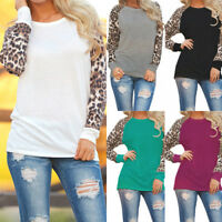 Women Leopard Plus Size Blouse Tops Patchwork Casual Loose T-Shirt Pullover