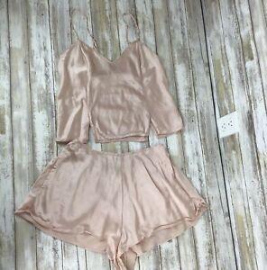 VINTAGE Victoria's Secret  Pajama Set Silk Satin Cami & Shorts Size S Small