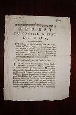 ✒ PARIS 1710 Taxe des vins de LANGUEDOC DAUPHINE AVIGNON PROVENCE Douanes