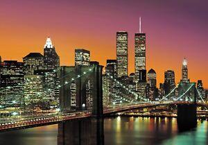 New York Wall Mural photo wallpaper 366x254cm Cityscape Manhattan Skyline Colour