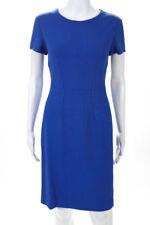 Narciso Rodriguez Blue Crew Neck Cap Sleeve Sheath Dress Size Italian 44