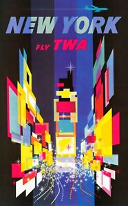 Vintage Travel Poster New York Fly TWA