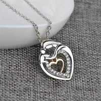 Mom And Baby Charms Silver Crystal Heart Love.Pendant Necklace Mother's Day DE