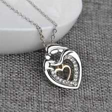 Mom And Baby Charms Silver Crystal Heart Love Pendant Necklace Mother's Day