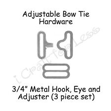 """50 Sets Adjustable Bow Tie Hardware* - 3/4"""" Silver Slide Adjuster, Hook & Eye"""
