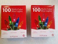 Christmas Lights - 2 Sets of Holiday Time 100 Bulb Multi Color Mini Lights 21.5'