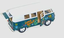 "5.25"" 1962 GREEN VW Peace & Love Diecast Metal Bus with Pullback Motor Action"