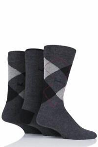 Mens Pringle 3 Pack Socks Waverley L4100 Grey1