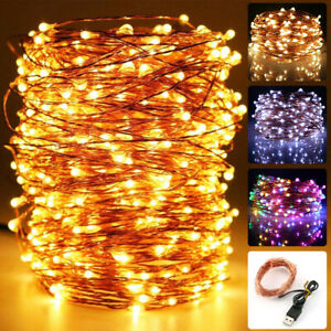 20/50/100/200 LEDs Copper Wire Copper USB Fairy String Lights Party Christmas UK