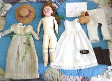 """Antique 14 15"""" S & H 1040 -4 Dep Simon Halbig.  Cabinet size Doll Lot Hat ++ TLC"""