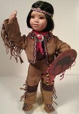Path Finder Native American Indian Boy Porcelain Doll Buffalo Shield Danbury 94