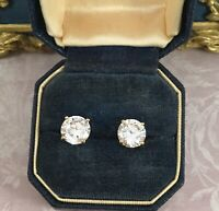 Vintage Jewellery Gold Earrings White Sapphires Antique Deco Jewelry Ear Rings