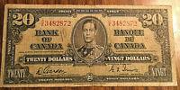 1937 CANADA 20 DOLLARS BANK NOTE - C/E - Gordon / Towers