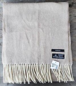 Versace 100% Wool Beige and Ivory Herringbone & Medusa Head Scarf - New