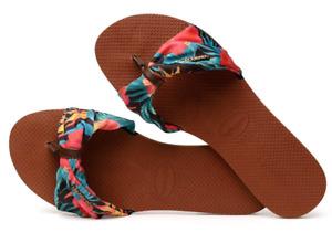 Havaianas Women`s Flip Flops You St Tropez Sandals Rust Floral Sandal  NWT