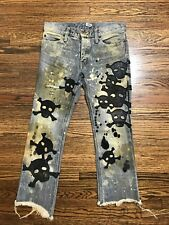 L.G.B. Leather Skull Patch Distressed Jeans Size 25