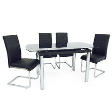 Black Glass Chrome Legs Compact Extending Dining Table Set Four Stylish Chairs