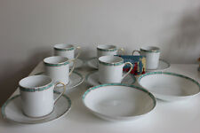 6 Cups and Saucers and Plates BERNARDAUD LIMOGES Porcelain GEMME VERT GREEN