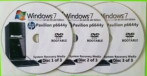 HP Pavilion p6644y Factory Recovery Media 3-Discs Set / Windows 7 Home 64bit