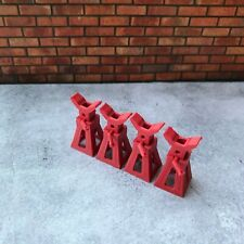 4 x Red Working Jack Stands for Diorama Garage / Workshop 1:18 scale Car Model