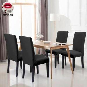 Housse chaise couverture noir pour Chaises de salle à manger extensible Tissu
