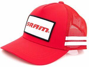 SRAM Mesh Podium Cap Hat ONE SIZE Red White Stripe Snap Close Bike Cycling MTB