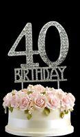 40th Birthday Cake Diamante Anniversary Silver Decoration 40 Crystal Topper