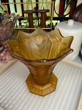 Vintage Frosted Amber Art Deco 1920s Geometric Depression Glass Vase
