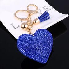 Heart Shape Crystal Rhinestone Charm Pendant Keychain Keyring Key Chain