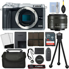 Canon EOS M6 Mirrorless Digital Camera with 15-45mm STM Lens Silver + 16GB Kit
