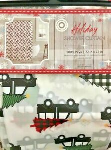HOLIDAY SHOWER CURTAIN PEVA VINYL BLACK PICK-UP TRUCKS/PLAID CHRISTMAS TREES-NEW