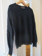 Coach Men's Black Sweater, size S, 100% Camel Hair with Leather Elbow Patches