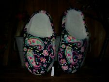 LADIES FLORAL DESIGN HOUSE SLIPPERS SIZE 7-8 BEADED SOLES FOR INDOOR USE CASUAL