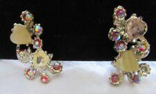 Vintage Red Aurora Borealis W Hearts Clip On Earrings. Goddess Jade Jewelry