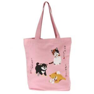 Japanese Student Women Shoulder A4 Tote Bag Handbag Shiba Inu Dog Miyake Cat