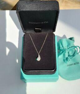 "Tiffany & Co Platinum Pavé Diamond Teardrop Pendant Necklace 16""/18"""