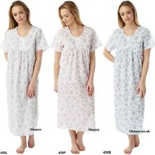 Long Nightdress Ladies Nightie Size 10 to 30 Lilac or Pink Floral 48 Inches Long