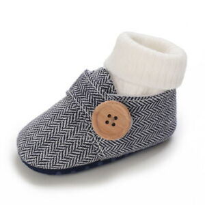Newborn Baby Boy Girl Crib Shoes Infant Toddler Trainers Winter Warm Boots 0-18M