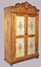 Armadio a due ante decorato a mano in legno massello cm 127x51 h 184 Unico