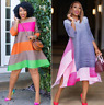 African Casual Dress New Women's Summer Printed Color Striped Skirt Short Sleeve