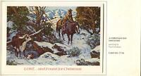 VINTAGE CHRISTMAS COWBOY HORSE RESCUING COW  & CALF PAUL SALISBURY GREETING CARD