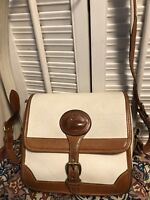 Dooney Bourke All Weather Leather Buckle Flap Shoulder Bag USA British Tan White