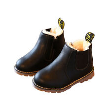 UK Kids Boys Girls Winter Warm Fur Lined Shoes Toddler Chelsea Ankle Boots Size