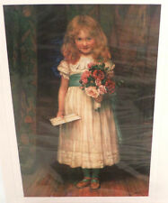 """Victorian Lithograph Print Picture """"Special Greetings"""" Girl With Flowers 4"""" X 6"""""""