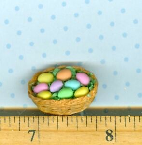 Dollhouse Miniature size Sue's Basket of Colored Easter Eggs in Green Grass