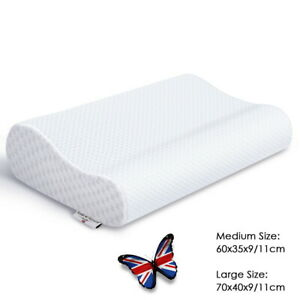 Contour Memory Foam Pillow 60/70cm w Pillow Case Orthopedic Neck Back Support