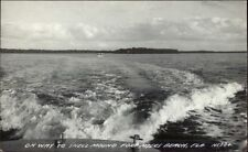 Fort Myers Beach FL Boating to Shell Mound Real Photo Postcard
