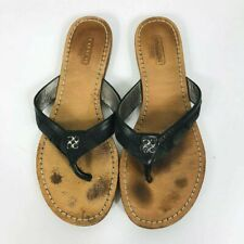 dd9b9178783d Coach Size 7 Leather Flip Flops Brown Logo Print Casual Everyday